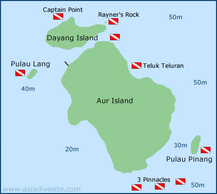 pulau aur dive sites